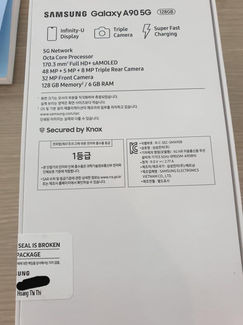 В сеть утекли официальные характеристики Samsung Galaxy A90 5G с розничной коробки
