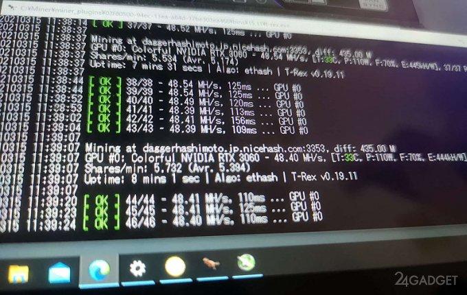 Ограничение на майнинг ETH на GeForce RTX 3060 преодолено (видео)
