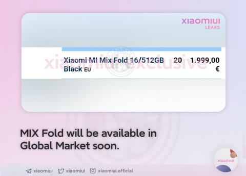 Раскрыты цена и сроки релиза за пределами Китая первого складного смартфона Xiaomi