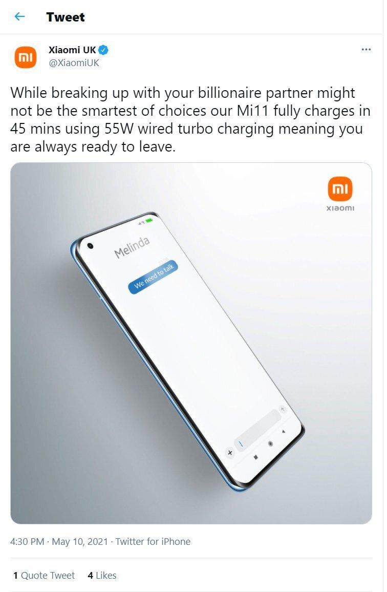 Xiaomi использовала развод Билла Гейтса с женой для рекламы своего смартфона