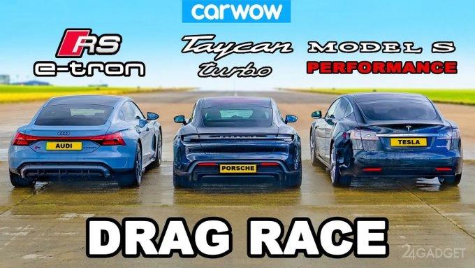 """""""Битва"""" электрокаров на гоночном треке – Audi RS e-tron GT, Porsche Taycan и Tesla Model S (видео)"""