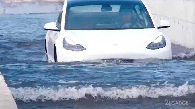 Видео из Китая с «плывущим» по воде электромобилем Tesla Model 3 (видео)