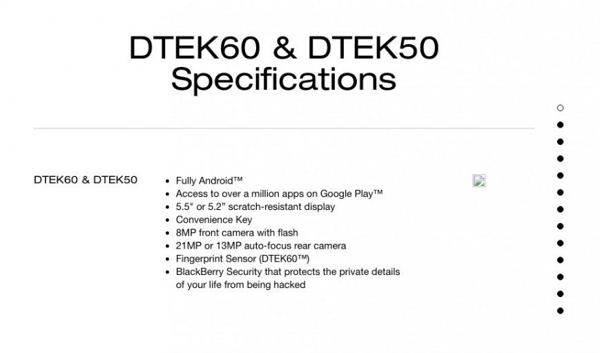 Смартфон BlackBerry DTEK60 засветился на официальном сайте