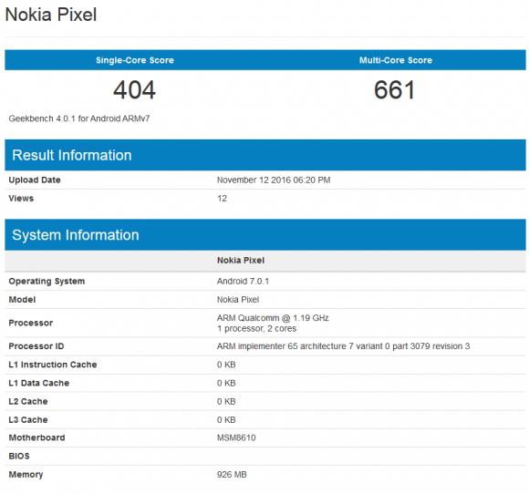 Смартфон Nokia Pixel засветился в бенчмарке