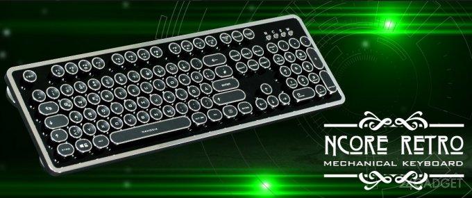 Механическая клавиатура в стиле старинной печатной машинки (7 фото)