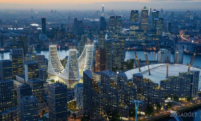 В Лондоне появится футуристический комплекс небоскребов(6 фото + видео)