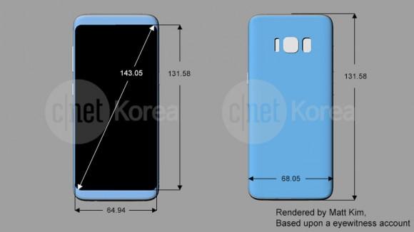 Новые рендеры Samsung Galaxy S8 и S8 Plus раскрыли точные размеры и расположение кнопок