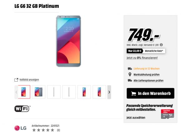 Рассекречена европейская цена на флагманский LG G6