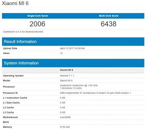Xiaomi Mi 6 показался в бенчмарке