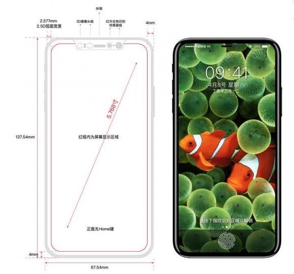 Новые чертежи и рендеры iPhone 8 показали экран с минимальными кромками