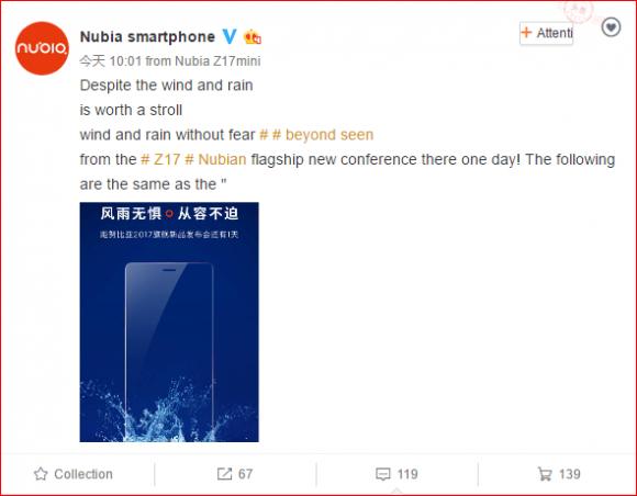 Тизер смартфона Nubia Z17 указывает на защиту от воды и пыли