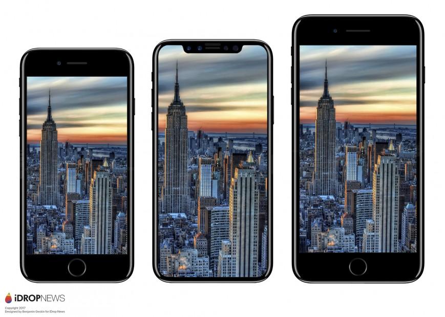 iPhone 8 сравнили с iPhone 7 и  Galaxy S8 на красивых рендерах