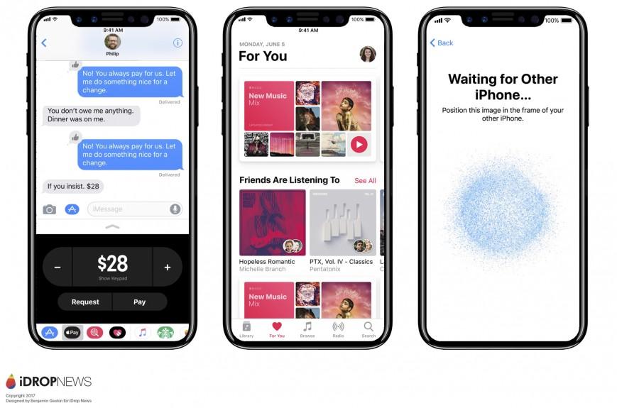 Концепт iPhone 8 с iOS 11