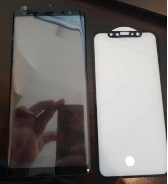 Лицевые панели Samsung Galaxy Note 8 и iPhone 8 показали на одном фото
