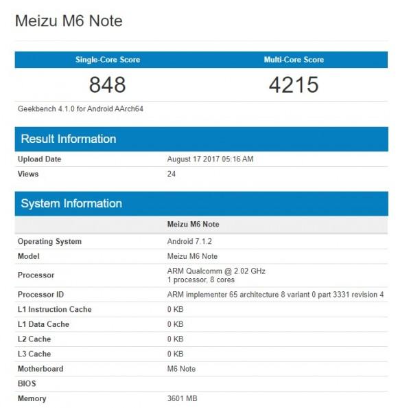 Meizu M6 Note на базе Snapdragon засветился в бенчмарке