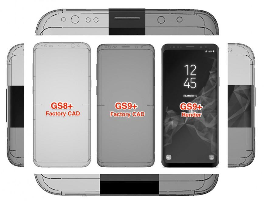 Фабричные чертежи подтвердили дизайн Samsung Galaxy S9+