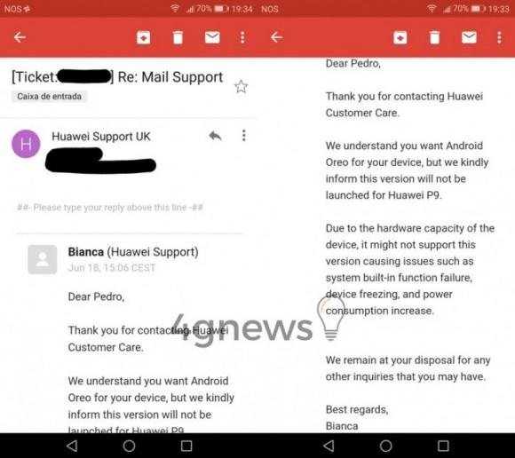 Huawei P9 останется без Android 8.0 Oreo