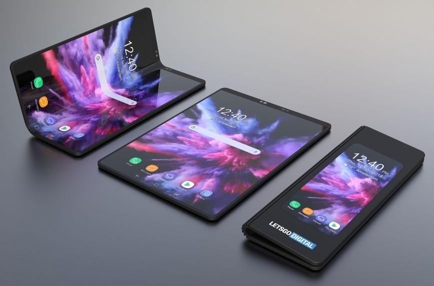 Складной смартфон Samsung с гибким дисплеем красуется на 3D-рендерах
