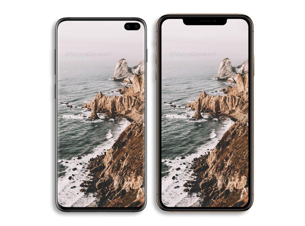 Samsung Galaxy S10+ сравнили с iPhone XS Max на рендерах