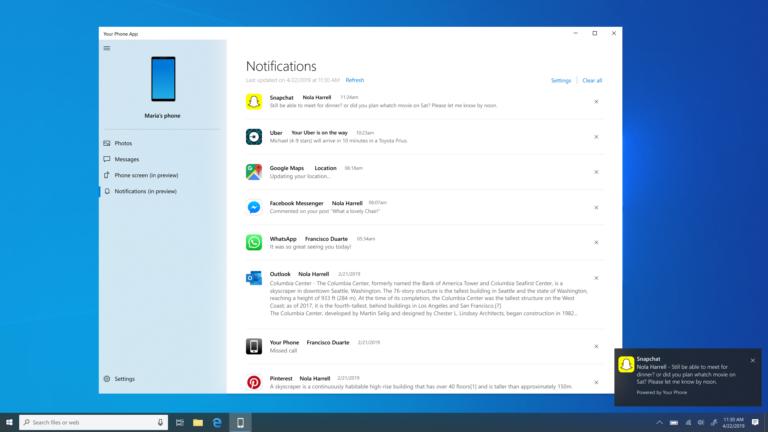 В Windows 10 будут отображаться уведомления с телефонов