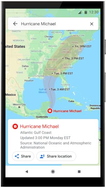 Карты Google научили предупреждать о стихийных бедствиях