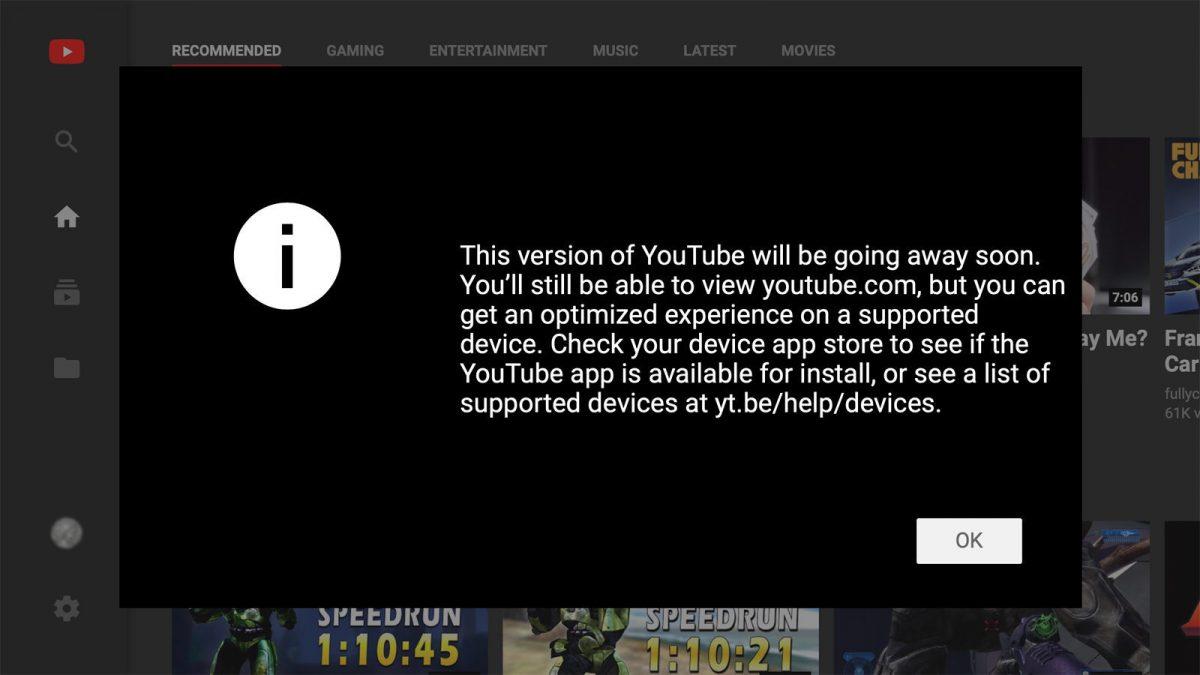YouTube убивает свой интерфейс для телевизоров