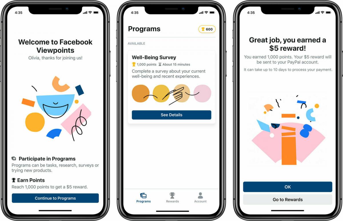 Facebook заплатит пользователям за участие в опросах
