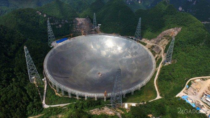 В Китае запущен самый большой наземный радиотелескоп в мире (4 фото)