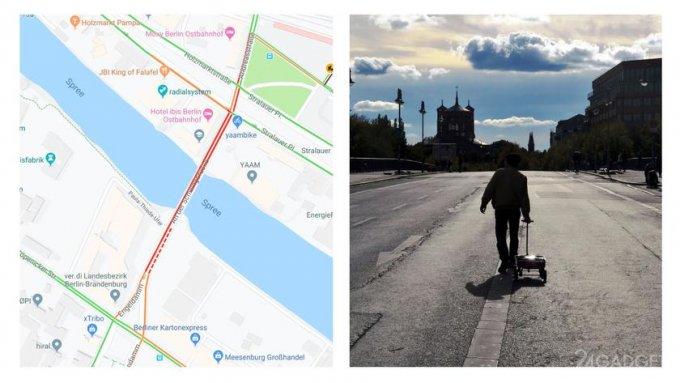 99 смартфонов возимых по Берлину на тележке «создали» виртуальные пробки в Google Maps (3 фото + видео)