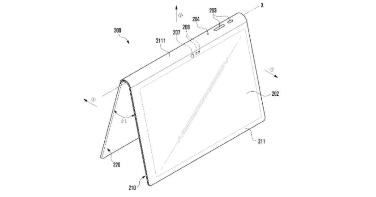 Samsung запатентовала планшет со встроенной подставкой