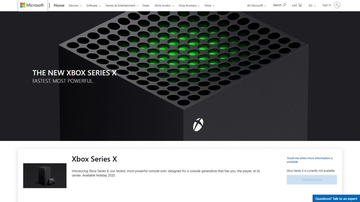 В онлайн-магазине Microsoft появилась страница консоли нового поколения Xbox Series X