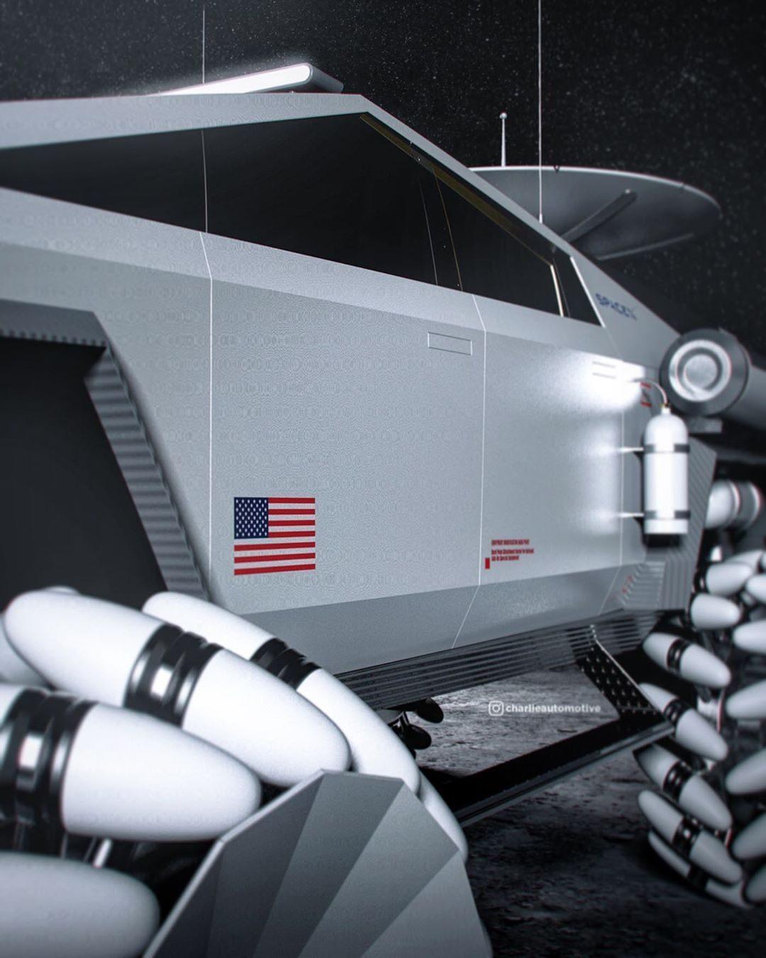 Представлен концепт лунохода на базе электропикапа Tesla Cybertruck