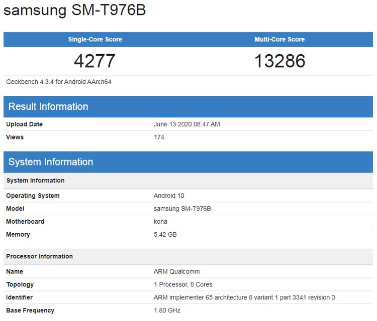 Раскрыта производительность неанонсированного планшета Samsung Galaxy Tab S7+