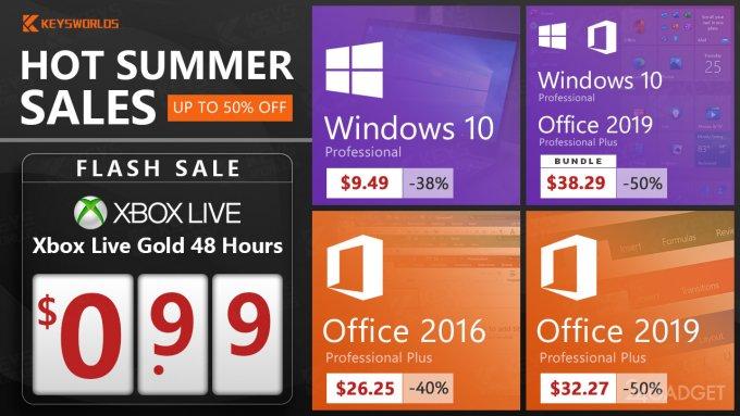 Летние скидки: подписка на Xbox Live Gold за 99 центов и распродажа наборов Windows 10 и MS Office (+3 промокода внутри)
