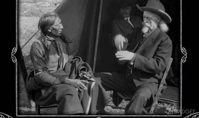 Нейросеть восстановила видео беседы Буффало Билл и вождя «Железного хвоста» из племени сиу