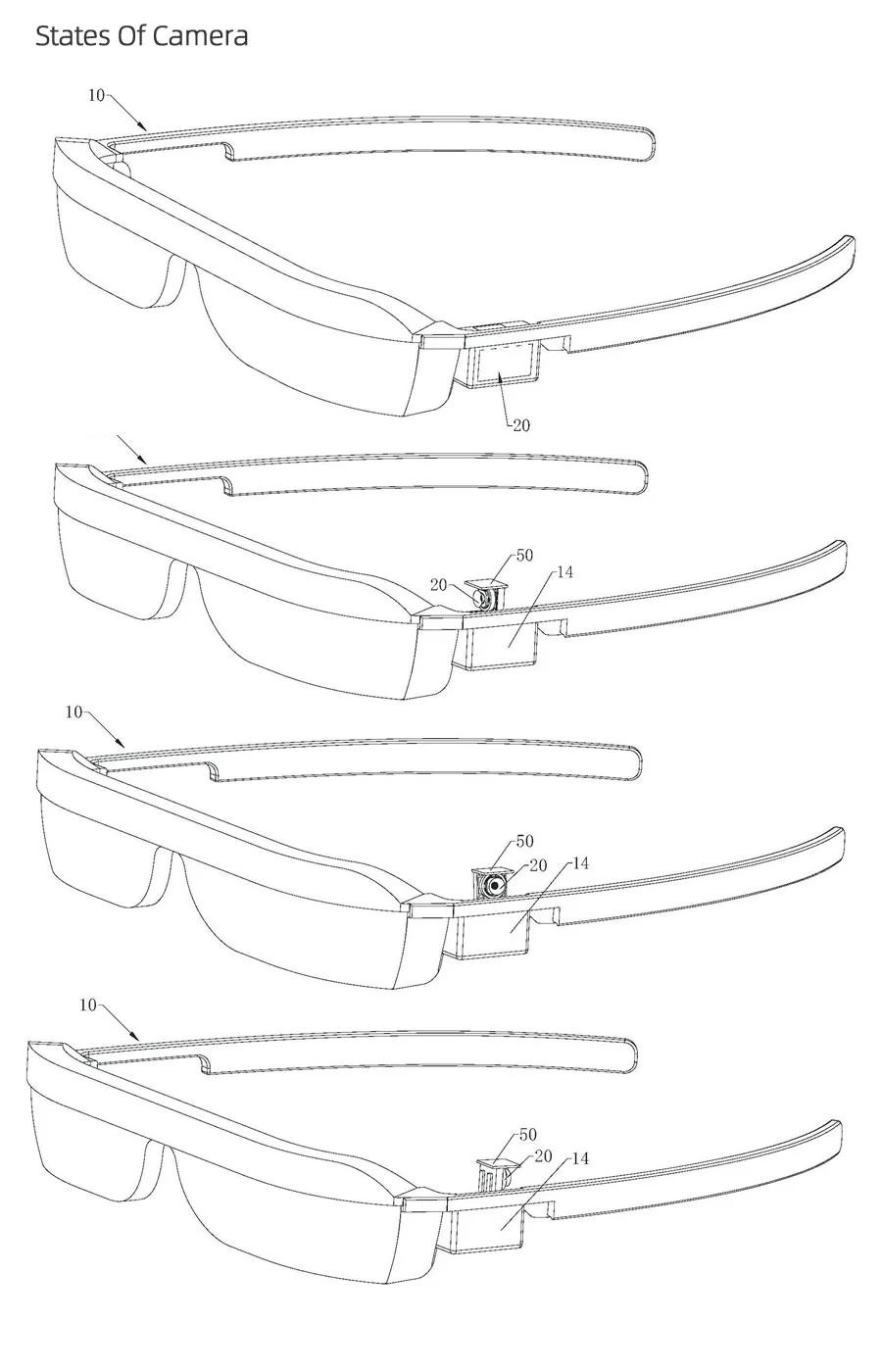 """Huawei запатентовала """"умные"""" очки с поворотной выдвижной камерой"""