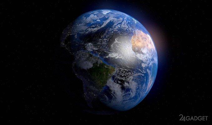 4К видео вида на Землю со стороны Луны