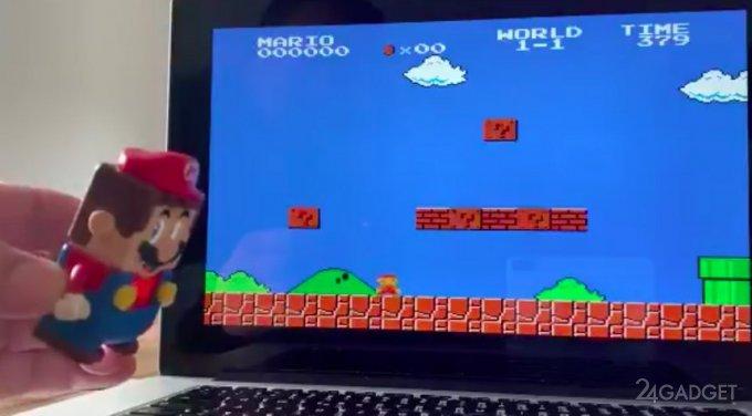 Фигурку Марио из Lego превратили в контроллер для игры Super Mario (2 видео)