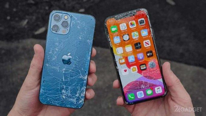 Стекло Ceramic Shield в iPhone 12 и iPhone 12 Pro испытаны на прочность (2 видео)