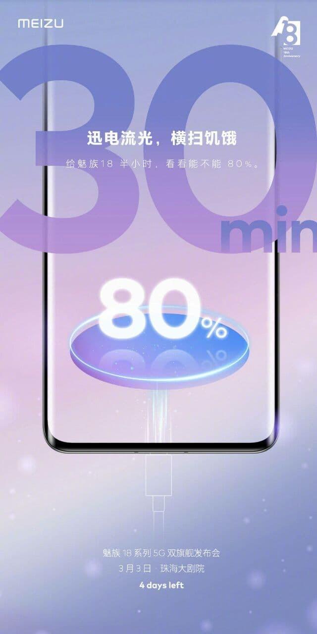 Новый флагман Meizu будет заряжаться на 80% за полчаса