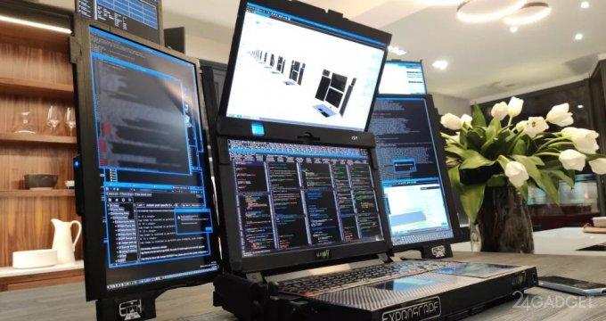 Представлен прототип ноутбука Aurora 7 с семью экранами (4 фото)