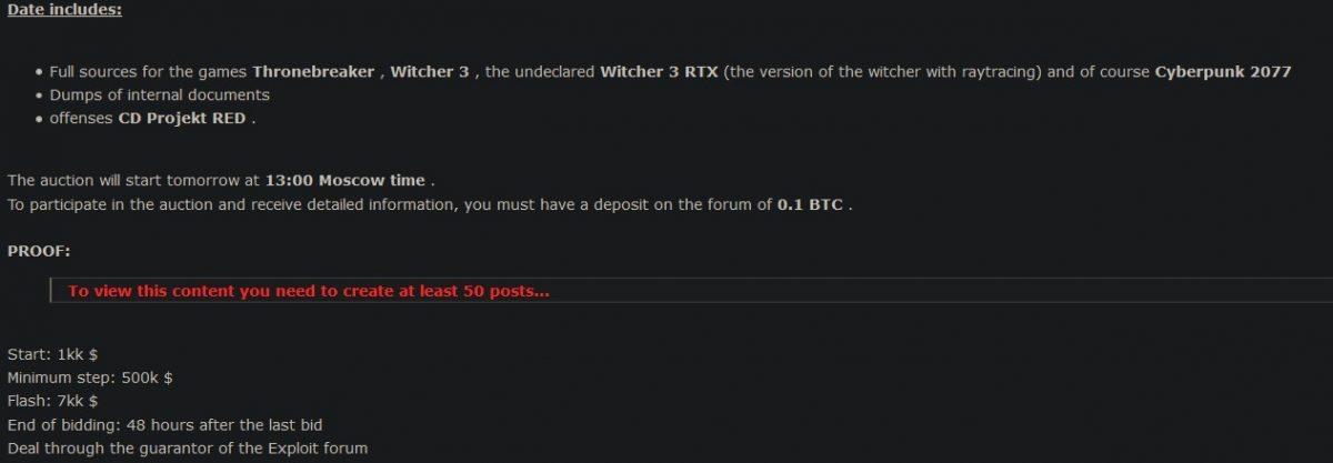 Хакеры устроили аукцион по продаже украденного исходного кода Cyberpunk 2077