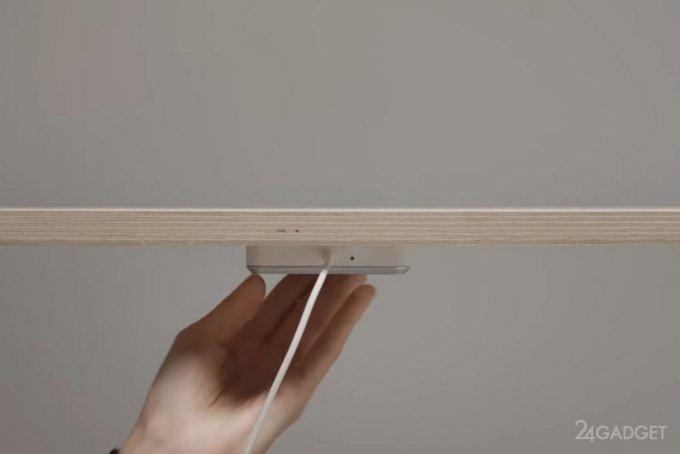Встраиваемая беспроводная зарядка Qi от IKEA для любого стола (видео)